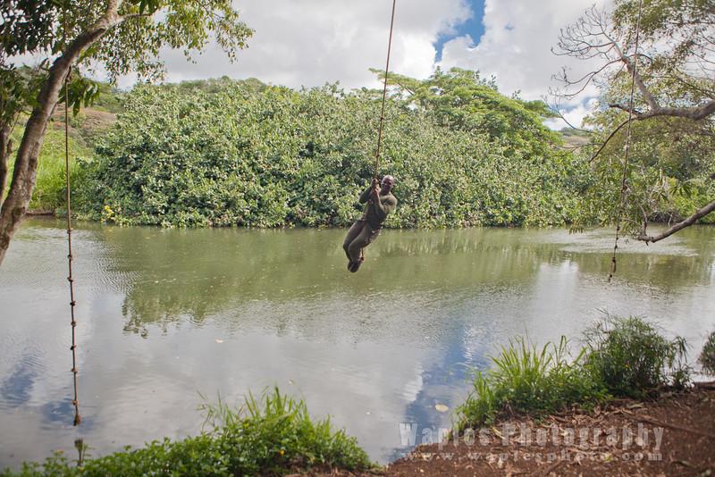 Swinging over the Hule'ila River