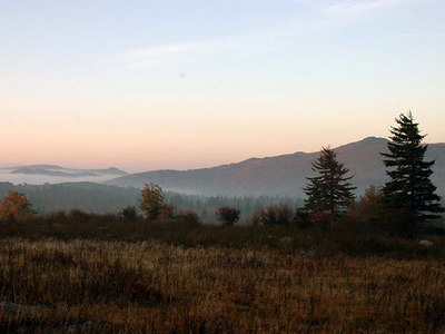 Sunrise over Mt. Rogers.  Taken from my campsite near the Appalachian Trail.  September 2004