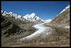 A small glacier terminates in the Padum to Kargil valley, Zanskar region of the Indian Himalayas.