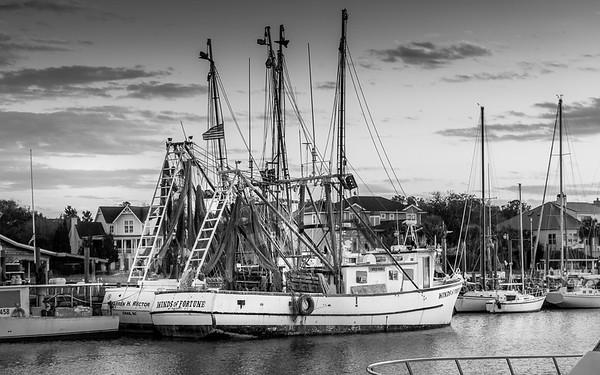 Shem Creek Fishing Boat (Black and White)