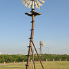 A uniquely shaped steel windmill at the Lubbock Windmill Museum.