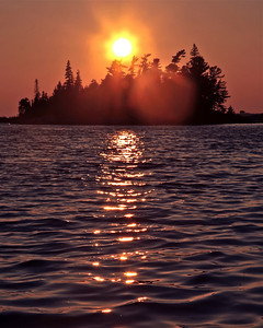 Sun behind Trees in Georgian Bay