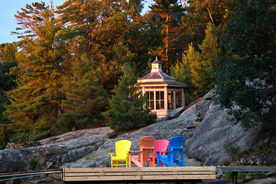 Morning light Gazebo and Deck Chairs on Dock