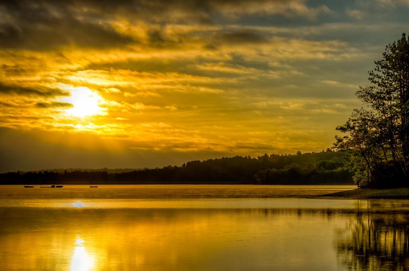 Golden Sun Rains Down at Sunrise - Hopkinton State Park