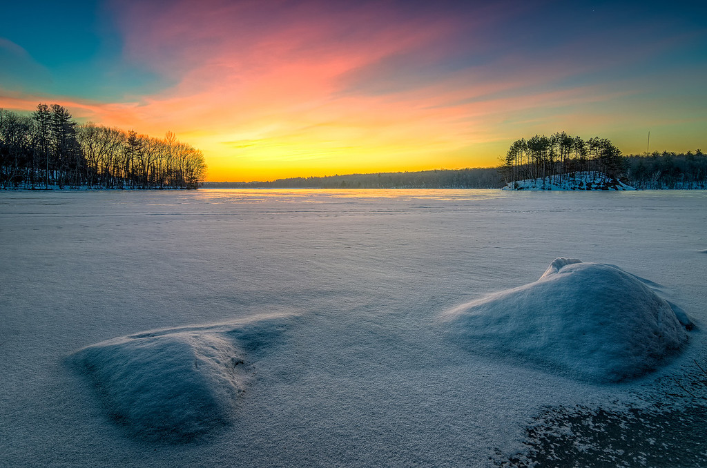 Winter Sunrise on Frigid Morning - Hopkinton State Park