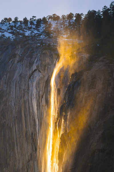 Horsetail Falls at Sunset in Yosemite National Park