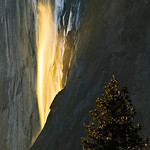 """Last Flames on Horsetail Falls""  Yosemite National Park.   I caught the last few moments of light on Horsetail falls.  The falls were very light and subtle this year.  It was windy and a little spray caught the sunlight as it puffed up.   The tips of the tree were also nicely highlighted.  Just another fine place to be on a Friday afternoon.   My award winning ""Nature's Firefalls"" can be seen here:  <a href=""http://www.jharrisonphoto.com/gallery/2747559_ghkMc"">http://www.jharrisonphoto.com/gallery/2747559_ghkMc</a>"