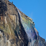 Rainbow on Horsetail Falls. Just off the face of El Capitan, Horsetail Falls was flowing early in Spring this year.  The sun caught this nicely to give off a subtle rainbow in the mist.