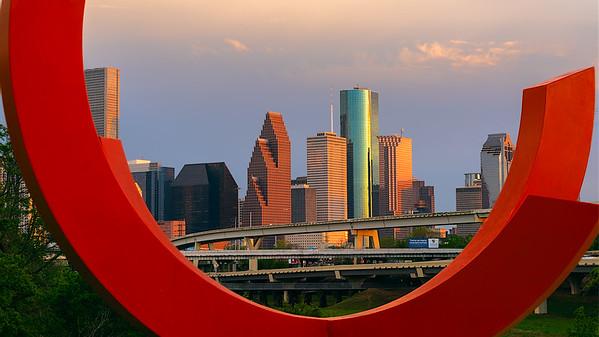 Downtown Houston from White Oak Bayou