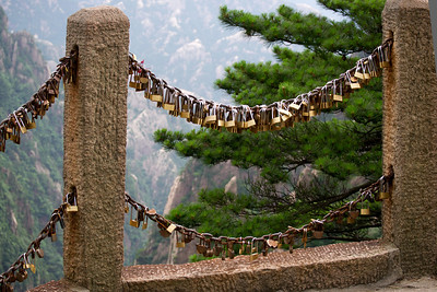 Love lockes Huangshan, Yellow Mt, China