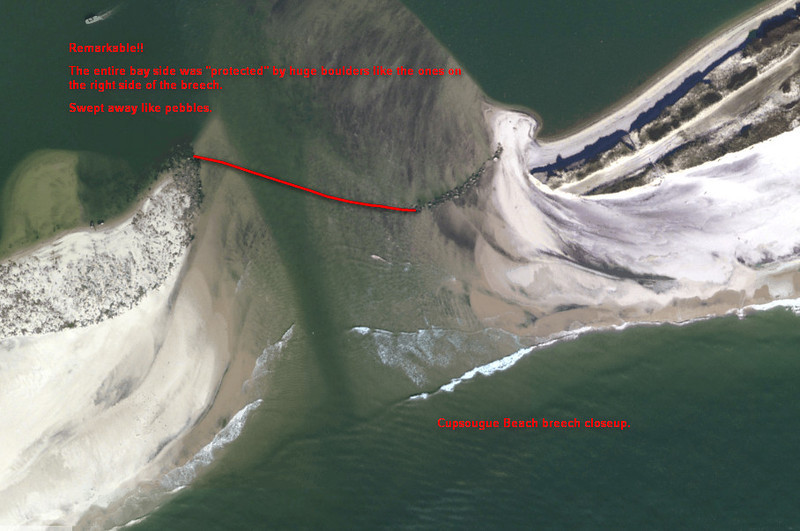 Cupsougue Beach Westhampton. Close up of new breech just east of the existing inlet.