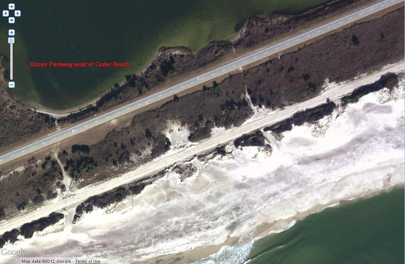 Close up of east bound side of Ocean Parkway west of Cedar Beach.