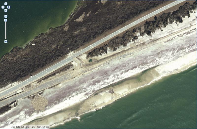 Close up view of Ocean Parkway west of Cedar Beach.