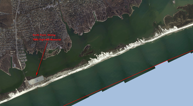 Wide view of Fire Island at Smiths Point in Shirley. Bridge at left is the William Floyd Parkway. The white sandy sections show how far inland the ocean came. While no breaching  occurred  the ocean did wash over those sections.