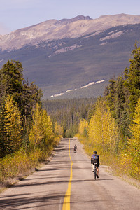 Cyclists on the old Icefields Parkway, Jasper