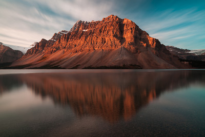Sunrise on Crowfoot Mountain, Bow Lake, Banff