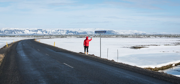 Behind the mountains is the Vatnajökull icefield, largest in Iceland.  It has 30 outlet glaciers.  The Ring Road is only two lanes, and its bridges are single-lane, because they're so frequently damaged by volcanic eruptions.