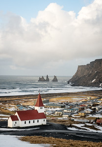 Church and sea stacks