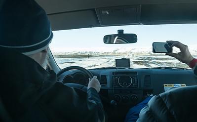 "The bumpy, icy ""road"" to/from Sólheimasandur beach"