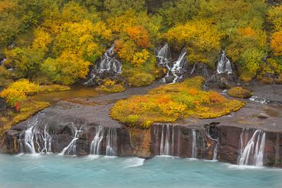 Fall colors at Barnafoss Falls