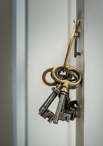 Not an exhibit piece, merely a ring of handsome keys, probably for the antique cabinets