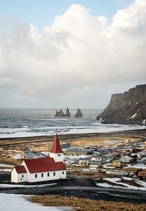 Church and sea stacks