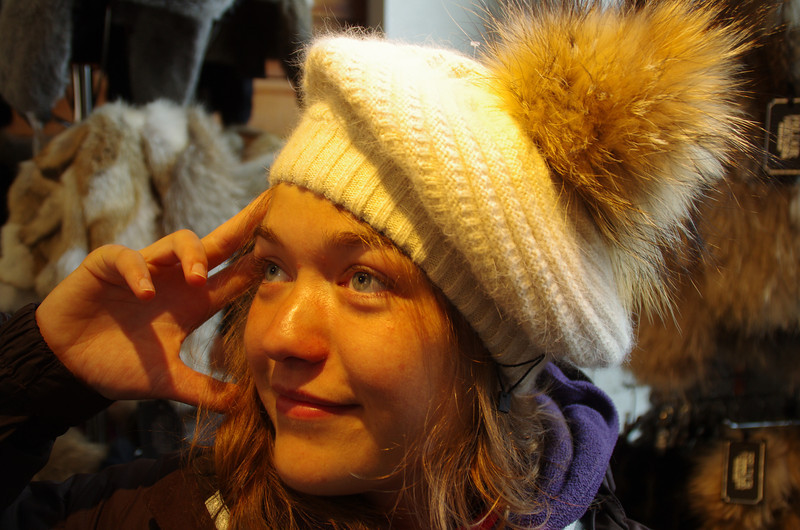 The price for an original blue lagoon hat: 230€<br /> Katha with the hat: priceless!