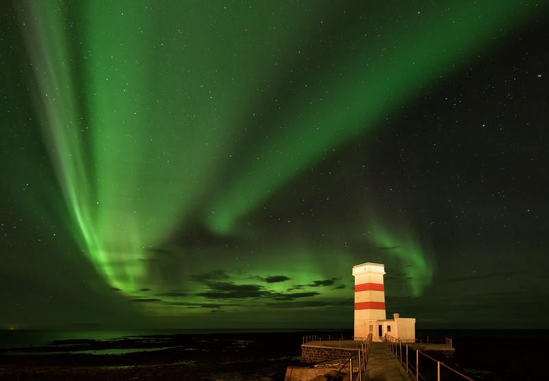 The Green Lights of Gardur Lighthouse