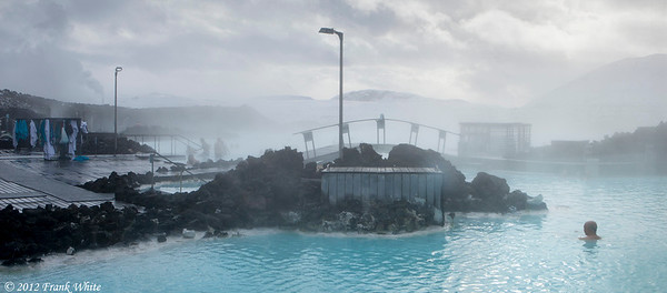 Looking over the Blue Lagoon thermal baths. It was below freezing so the fog from the warm water was very heavy.