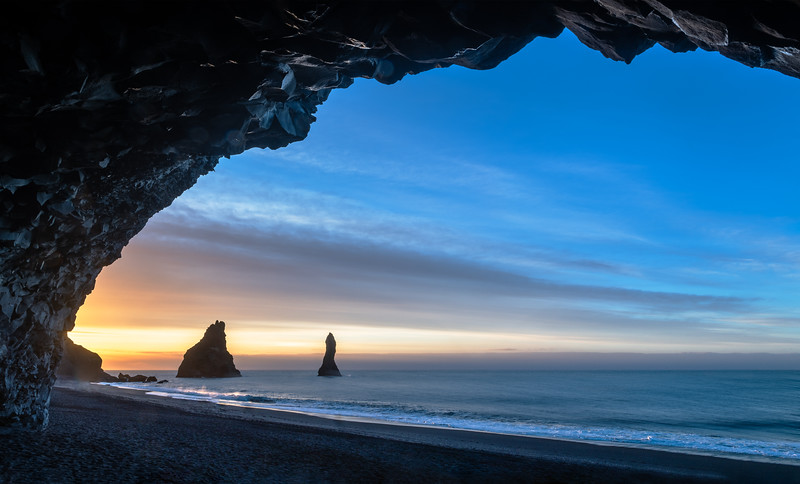 Sunrise at the Black Beach of Reynisfjara, Iceland is always a treat to the eyes