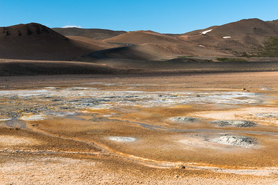 Hverir geothermal area with Ring Road coming from Lake Myvatn