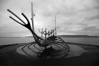 Cool viking boat sculpture on the Reykjavík waterfront.