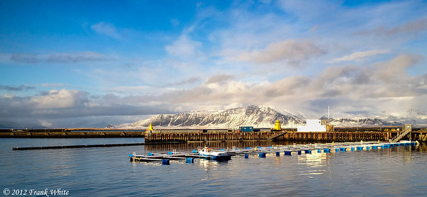 Overlooking the warf at Reykjavik harbor.