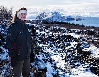 My friend Ann Redner at in Þingvellir National Park.
