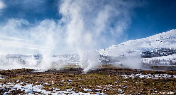 Steam vents in the Geysir geothermal area.