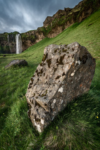 Boulder in front of Seljalandsfoss