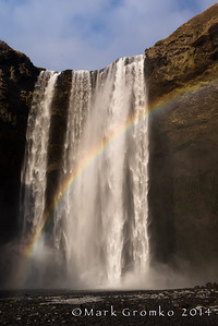 This waterfall (Skogafoss) is known for the mist bow created when the light hits it in late afternoon.