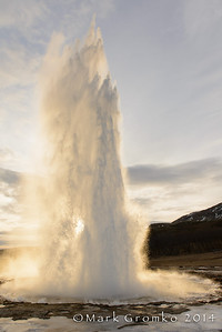 The geyser's name is Stokkur, which is near the more famous geyser, Geysir. But Geysir no longer erupts.