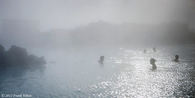 Bathers at the Blue Lagoon thermal baths. It was below freezing so the fog from the warm water was very heavy.
