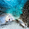 Mysterious blue ice cave in Skaftafell, Vatnajokull glacier, south Iceland.