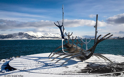 The famous viking ship sculpture on the Reykjavik harbor shorefront. It was a gorgeous morning, but it was about 28F with a 25+mph wind - cold!!