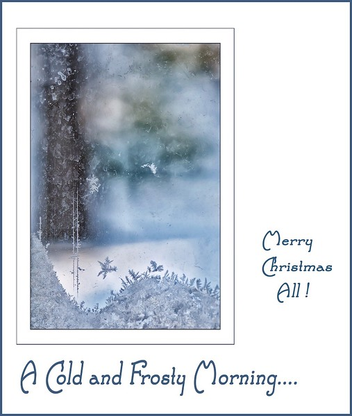ICES CAPES:  as seen thru a frosted window Icescape--Christmas card