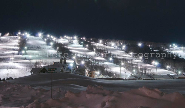 Night Skiing In The Town of the Blue Mountains. This the coolest shot I created to capture night skiing