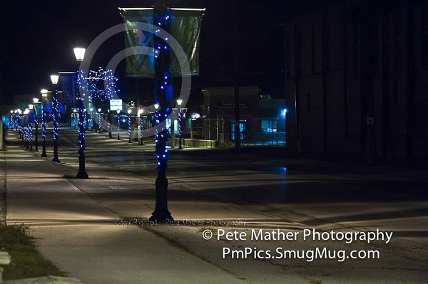 Winter Lights in Thornbury. I took this shot at about 11:30 pm. I love the the prospective.