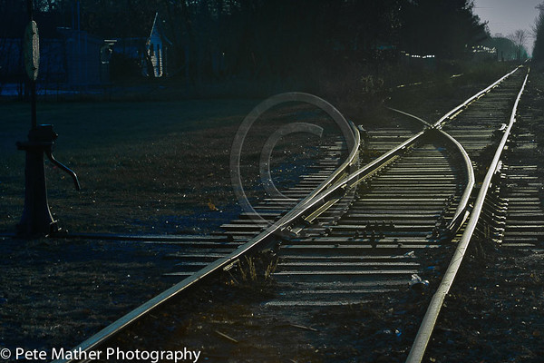 The tracks in Stayner heading south. This a switch juntion.