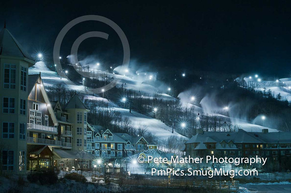 A winter night skiing shot. Making snow in the Town of the Blue Mountains.