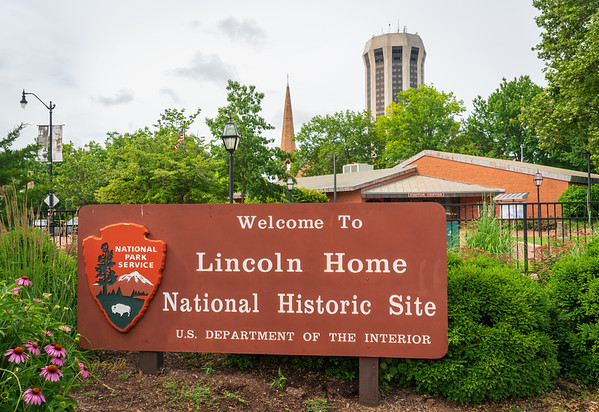 Welcome Sign at Lincoln Home National Historic Site
