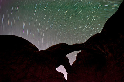 Double Arch (Arches National Park - Utah) under 20 minute star trail exposure.