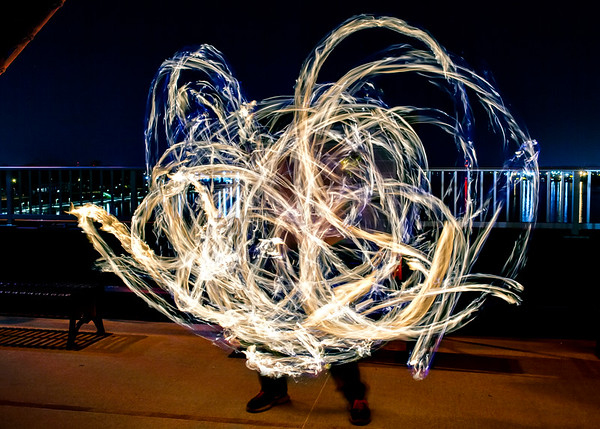 Twirling Fire on the Big Four Bridge