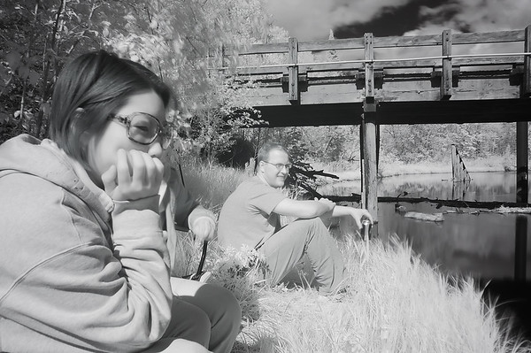 Becky and Lucus in Infrared  Fishing the Big Fork River near Effie, MN